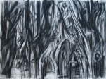 """""""past the dreadful"""" 22""""x30"""" charcoal, conte, eraser, on stonehenge."""