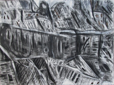 """""""the reverse side of apathy"""" 22""""x30"""" charcoal, conte, eraser, paint, cutting on stonehenge."""