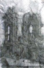 """""""what of our lady remains"""" 11""""x7"""" ink on crushed stonehenge"""