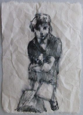 """little girl with suitcase 4""""x5"""""""