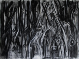 """past the dreadful"" 22""x30"" conte, charcoal, eraser, cutting."