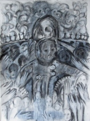 """madonna and child with buttons 22""""x30"""""""