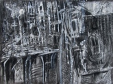 """scarcely a trace of pain"" 22""x30"" charcoal, conte, eraser on stonehenge."