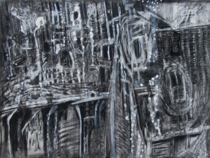 """""""scarcely a trace of pain"""" 22""""x30"""" charcoal, conte, eraser on stonehenge."""