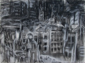 """iphigenia in the evening"" 22""x 30"" conte, charcoal, eraser"