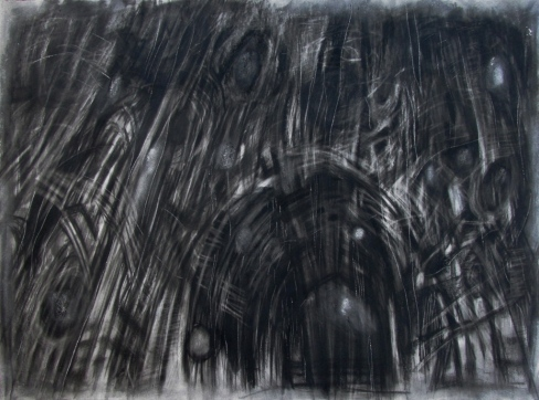 """Within an annihilated world"" 22""x30"" charcoal, conte, erasure, blade."