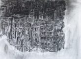 """""""sensory experience of survivors"""" 30""""x22"""" charcoal, conte, eraser on stonehenge."""