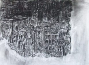 """sensory experience of survivors"" 30""x22"" charcoal, conte, eraser on stonehenge."