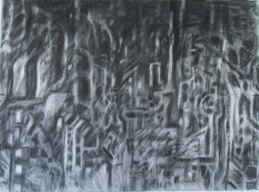 """the complex relationship between ethics and aesthetics"" 30x22"" charcoal, conte, eraser on stonehenge."