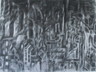 """""""The Complex Relationship Between Ethics and Aesthetics"""" 30x22"""" charcoal, conte, eraser on stonehenge."""