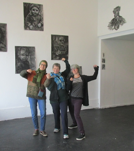 My heroes!! Artists Clare Thomas, Mary Babineau and Fern Long were with me all yesterday afternoon and we did it!