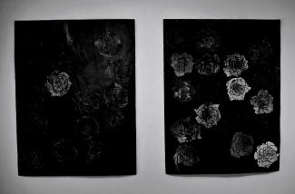 """""""White Rose"""" and """"Solf Circle"""" 50""""x38"""" ink, china pencil, candle wax"""