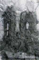 """""""what of our lady remains"""" 11""""X7"""", ink on crushed stonehenge"""