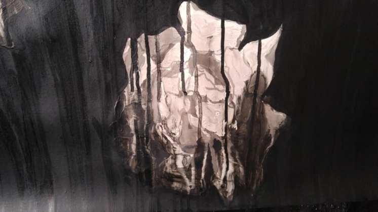 Ink, wax, paint, matt medium, china pencil (detail) 2020