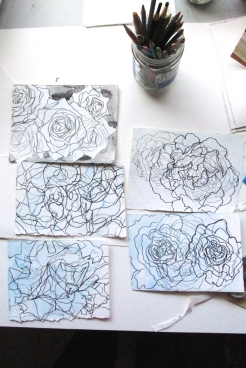 abstracted images from photos of roses in my neighbourhood for the BOXCARSIX Postcard Project