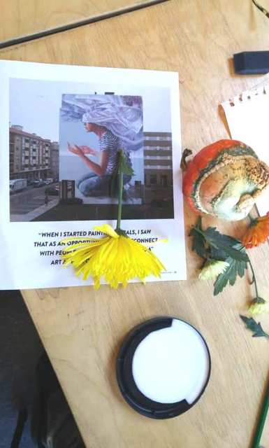 the juxtaposition of images and objects used for contour drawing and collage